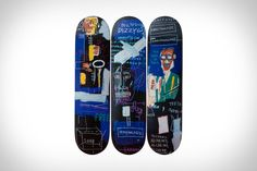 Produced in collaboration with the Estate of the late Jean-Michel Basquiat, The Skateroom's latest skateboard collection offers a chance to put the artists' work on. Skate Decks, Skateboard Decks, Latest Jeans, Jean Michel Basquiat, Street Culture, Deck Design, Skateboards, American Artists, Pop Art