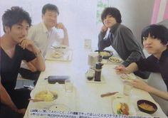 "Tomohisa Yuge, Jiro Sato, Kento Yamazaki, Gouki Maeda. BTS photo, J drama series ""Death Note"", ongoing  [Ep. w/Eng. sub] http://www.dramatv.tv/search.html?keyword=Death+Note+%28Japanese+Drama%29"