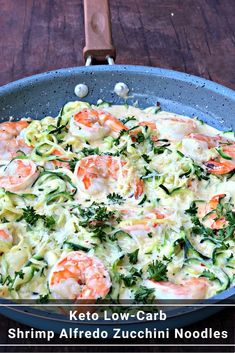 Keto Low-Carb Creamy Garlic Shrimp Alfredo Zucchini Noodles (Zoodles) is a quick and easy recipe that is perfect for the keto diet and ketosis lifestyles. The shrimp is served grilled or pan seared with parmesan cheese and rich alfredo cream sauce. Keto Shrimp Recipes, Zoodle Recipes, Healthy Recipes, Baking Recipes, Quick Recipes, Diet Plan Menu, Keto Meal Plan, Quick Vegetarian Meals, Quick Easy Meals
