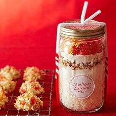 Christmas Macaroon Mix Flaky coconut and candied cherries add unique flavor to these delicious cookies. Layer the ingredients in a jar to give as a holiday present.