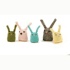 Bunny Nuggets by Rebecca Danger - a free knitting pattern for these cute bunnies on ravelry Knitting Patterns Free, Knit Patterns, Free Knitting, Baby Knitting, Free Pattern, Simple Knitting, Knitting Toys, Cat Pattern, Yarn Bombing