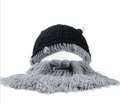 Novelty Viking Beard Beanie with Ox Horns