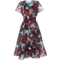 Carolina Herrera belted floral print shirt dress (129.735 RUB) ❤ liked on Polyvore featuring dresses, carolina herrera, short dress, blue, floral-print dresses, floral mini dress, blue shirt dress, short blue dresses and blue mini dress