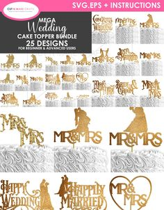 Congrats On Your Wedding, Happy Wedding Day, Huge Wedding Cakes, Wedding Cake Toppers, Cricut Wedding, Wedding Fonts, Free Svg, Cricut Cake, Wedding Designs