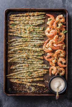 Garlicky Shrimp with Asparagus Fries and Meyer Lemon Aioli | Williams Sonoma Taste