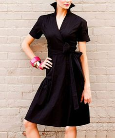 Black Sleek Shadow Wrap Dress
