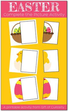 Toddlers and preschoolers will enjoy matching the missing halves of these Easter pictures. #Easter #GiftOfCuriosity #toddlers #preschool || Gift of Curiosity Easter Activities For Kids, Preschool Learning Activities, Toddler Preschool, Preschool Ideas, Easter Pictures, Kids Pages, Easy Arts And Crafts, Play Based Learning, Business For Kids
