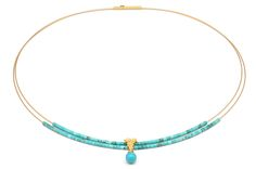 """This necklace, from Bernd Wolf's """"Florentine"""" collection, features turquoise. It is 24-karat gold-plated sterling silver. It retails for $359."""