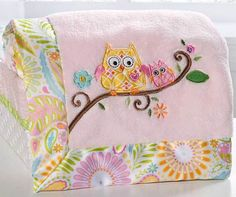 Dena Happi Tree Baby Owls with Flowers Girls Pink Sherpa Boa Blanket by Kidsline | eBay