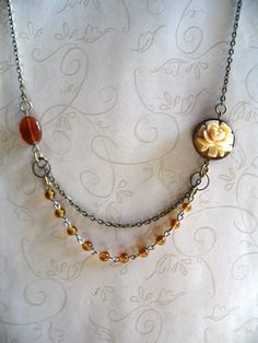 Vintage Rose Necklace, amber glass beads    $24.00