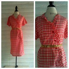 Vintage 60s Red Plaid Dress  RED Velvet by runaroundsuevintage, $16.00