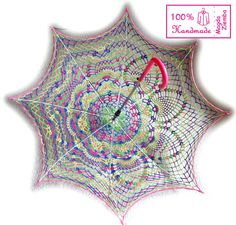 """48"""" Multicolor Rainbow Lace Crochet UMBRELLA PARASOL, Mothers Day Gift , Summer Wedding Favor- Ready to Ship on Etsy, $95.00"""