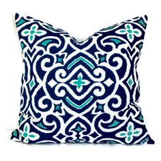 Robert Allen Damask, Decorative Pillow, Accent Pillow, Pillow Cover, 18x18 20x20 22x22 or 14x20 Lumbar Pillow,Navy Turquoise White ($35) found on Polyvore featuring home, home decor, throw pillows, white down pillow, navy throw pillow, dark blue throw pillows, turquoise toss pillows and turquoise throw pillows