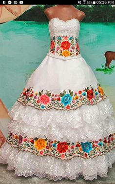 Quince Themes, Regional, Strapless Dress, Mexican, Dresses, Fashion, Embroidered Clothes, Strapless Gown, Vestidos