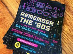 Final postcard design for a 80's themed Halloween pub crawl in Brooklyn.