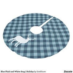 Blue Plaid and White Stag | Holiday Brushed Polyester Tree Skirt