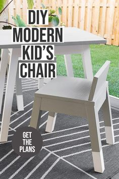 Learn how to build a simple modern angled leg DIY kids chair. The complete woodworking plans show you how to build this easy woodworking project for your toddler. #anikasdiylife #woodworking #diydesk Scrap Wood Projects, Woodworking Projects That Sell, Diy Woodworking, Furniture Projects, Diy Furniture, Modern Kids Chairs, Wood Working For Beginners, Easy Home Decor, Colorful Furniture