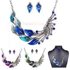 Leaf Peacock Crystal Drop Earrings Necklace Set #jewelry #fashion #beauty