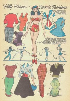 An homage to Katy Keene, created by Bill Woggon. This page is dedicated to the Katy of No copyright infringement intended. Comic Book Paper, Comic Books, Paper Toys, Paper Crafts, Newspaper Paper, Creation Art, Queen Of Spades, Paper Dolls Printable, Archie Comics