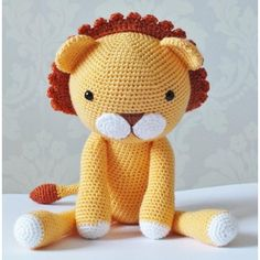 """Amigurumi crochet pattern This Adorable lion is my own design, when finished he measure's approx 18"""" tall ( when using D.K yarn and 3.5mm hook) The pattern is quite straight forward I recommend it as an intermediate/advanced beginner pattern. The instructions are very detailed and easy to follow if you know the basic stitches and techniques used to make amigurumi . The PDF file includes over 50 pictures to help you along. Written using U.S crochet terms. You will need Approx. 100g of D.K ..."""