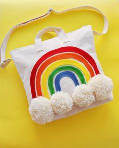 DIY Rainbow Pom Pom Tote Bag
