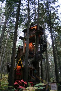 "If you ever find yourself in Revelstoke, British Columbia, Canada...head over to the attraction known as ""The Enchanted Forest"" and see this stunningly tall treehouse!"