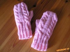 Rukavice-palčáky,pletené na dvou jehlicích
