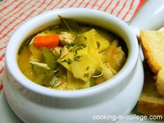 You know that stuff you can buy in a can that has itty bitty pieces of chicken? Well that stuff is called chicken noodle soup and it's … Steak In Oven, Ribs On Grill, College Meals, College Recipes, Cooking Sweet Potatoes, Chicken Noodle Soup, Recipe Please, Latest Recipe, How To Cook Steak