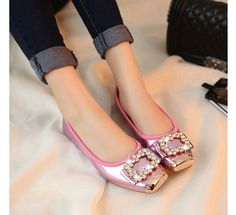 Women Square Toe Flats Rhinestones Shiny Pink Suede Balletic Comfortable Shoes