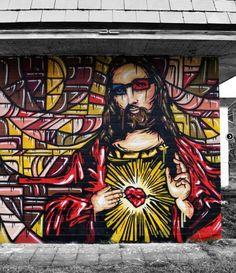 Graffiti Interview with Atek 84 Graffiti Art, Religious Images, Religious Art, Urbane Kunst, Best Street Art, Outdoor Art, Urban Art, Street Artists, Public Art
