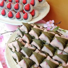 Sakura and strawberry mochi, #japanese #dessert {Photo by yurisinata}