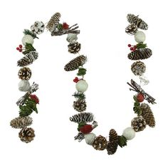 Found it at Wayfair - Frosted Pine Cone Natural Twig Berry and Wooden Rose Artificial Christmas Garland