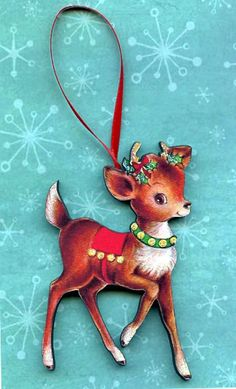 Christmas deer reindeer handmade wood tree by CoolCatCity on Etsy, $4.75