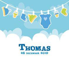 Enkel (niet gevouwen) geboortekaartje voor een jongen met aan de waslijn kinderkleertjes en speentjes