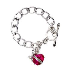 Juicy Couture Jewelry Silver Banner Heart Charm Bracelet Pink
