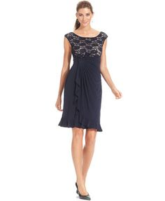 Connected Cap-Sleeve Sequin Lace Dress