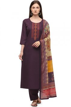 Cast a spell with this dark purple cotton trouser suit which will be scene-stealing ethnic wear to shine in the spotlight. This U neck and 3/4th sleeve blouse designed using thread work. Teamed up with cotton trouser pant in dark purple color with multi color chiffon dupatta. Trouser pant has plain work. Dupatta designed using printed work. #trousersuit #salwarkameez #malaysia #Indianwear #Indiandresses #andaazfashion Trouser Suits, Trousers, Heavy Lehenga, Pantalon Cigarette, Churidar Suits, Silk Dupatta, Pakistani Suits, Cotton Pants, Jacket Style
