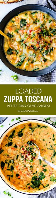 This one pot Loaded Zuppa Toscana Soup is truly better than Olive Garden's - by a long shot!  It's creamy, comforting. makes great leftovers and my family LOVES it!   via @carlsbadcraving