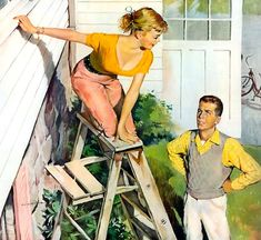 I've never quite figured this picture out, but I would surely have the same reaction as the guy if my true love was on the top level of a ladder. He needs to grab hold of that ladder first thing. This painting was in Esquire magazine with a story.