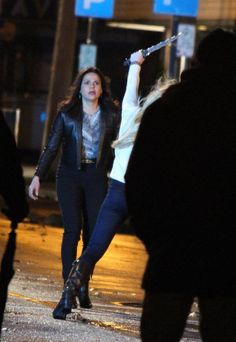 Lana & Jennifer filming scenes for the season finale - April 1, 2015