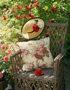 garden vignette...among the red roses