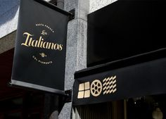 Logo and signage designed by Huaman for Barcelona based traditional Italian food producer and retailer Los Italianos.