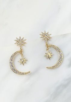 Gold Moon & Star Rhinestone Pendant Earrings Gold Moon & Star Rhinestone Pendant Earrings The post Gold Moon & Star Rhinestone Pendant Earrings appeared first on Ohrringe ideen. Cute Jewelry, Gold Jewelry, Jewelry Accessories, Jewelry Necklaces, Women Jewelry, Jewelry Ideas, Star Jewelry, Jewelry Holder, Beaded Jewelry
