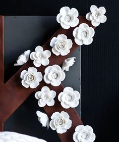 White Floral Magnets - what if they matched your fridge exactly, how lovely would that be!