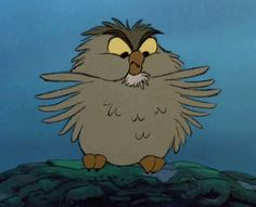 Archimedes the owl from Sword and the Stone ---feathers are ruffled!