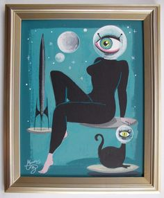 EL GATO GOMEZ PAINTING RETRO 1960S PULP SCI-FI EYE CAT PINUP GIRL SPACE ROCKET  #Modernism