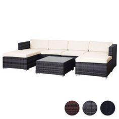 SVITA Lugano Poly Rattan Lounge Garten Set XXL Sofa Set Garnitur Gartenmöbel  Couch Set (XXL, Grau