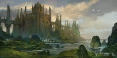 Castle Caladan by AndrewRyanArt   I dare someone to build this in Minecraft!  Wouldn't it be fabulous?
