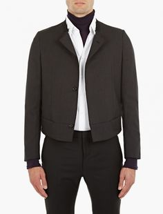Lanvin,Charcoal Collarless Suit Jacket,BLACK,0