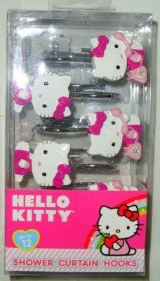 Amazon.com: Hello Kitty on Telephone Shower Curtain Hooks Girls Room Decor: Home & Kitchen